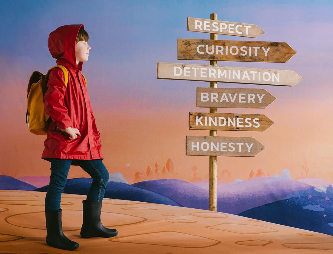 The Wondrous Road Ahead, child on a path with multiple sign posts for Respect, Curiosity, Determination, Bravery, Kindness and Honesty