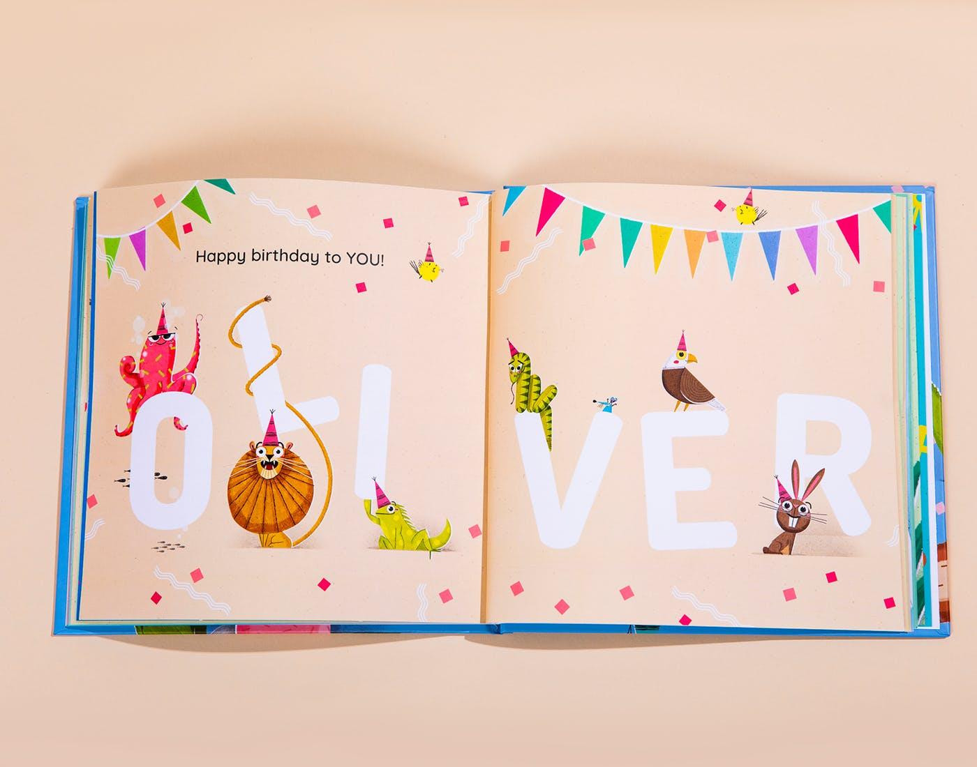 Happy Birthday Oliver Open Book