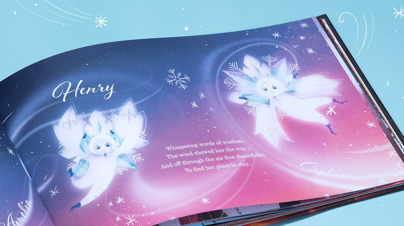 Snowflake Book personalised names spread