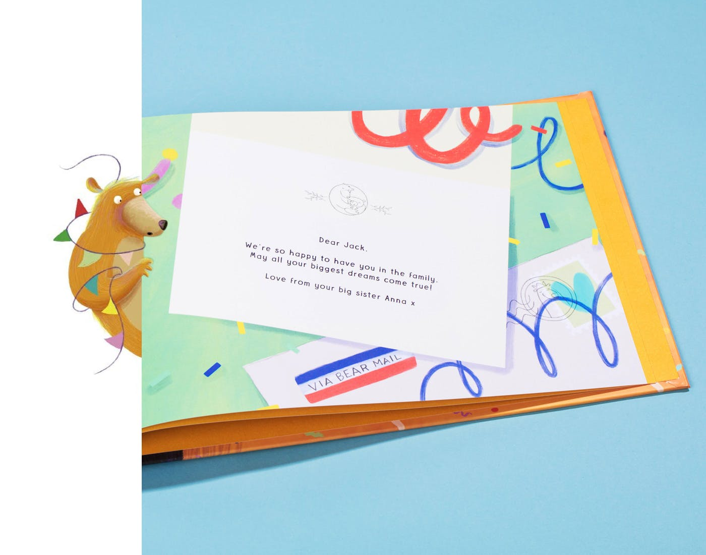 Image of the letter in the back of the book, to the littlest bear in your life.