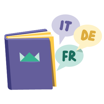 "Icon ""12 languages"" - illustration of book with speech bubbles saying italian, german, and french"