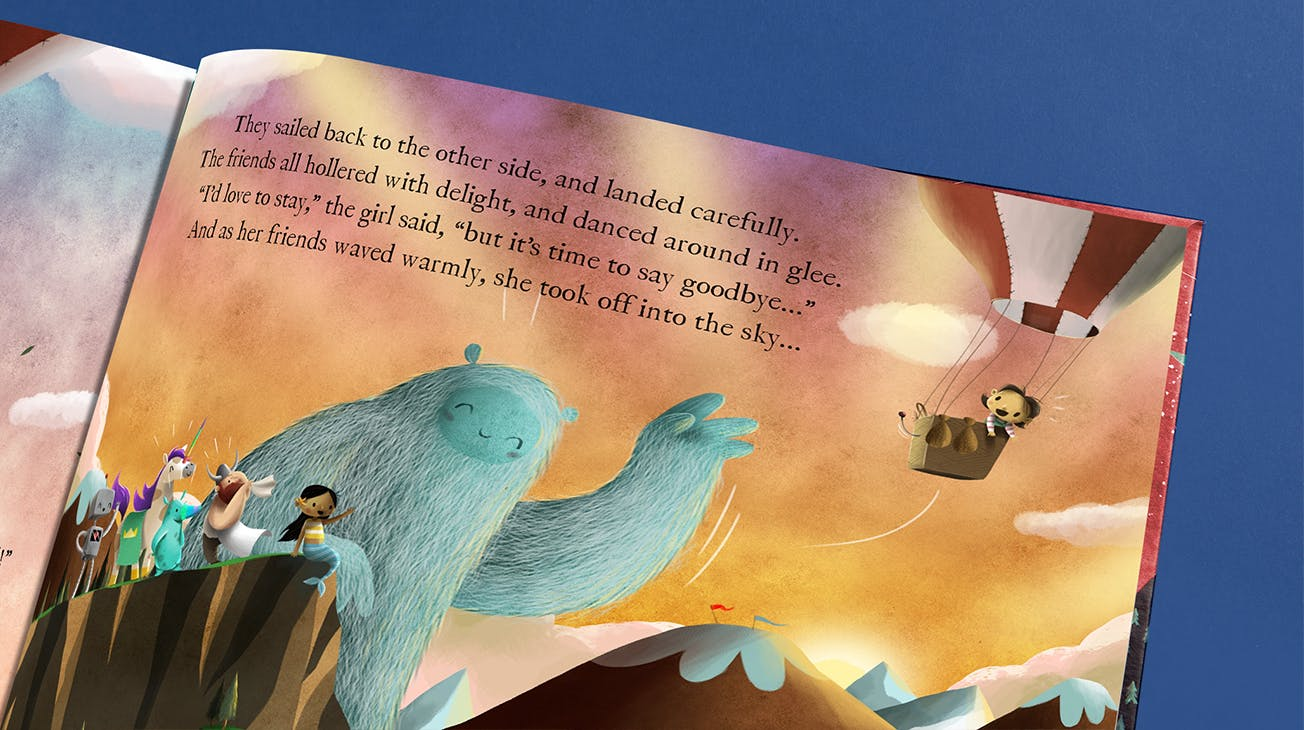 Spread from book showing the child's friends sending her off in a hot air balloon