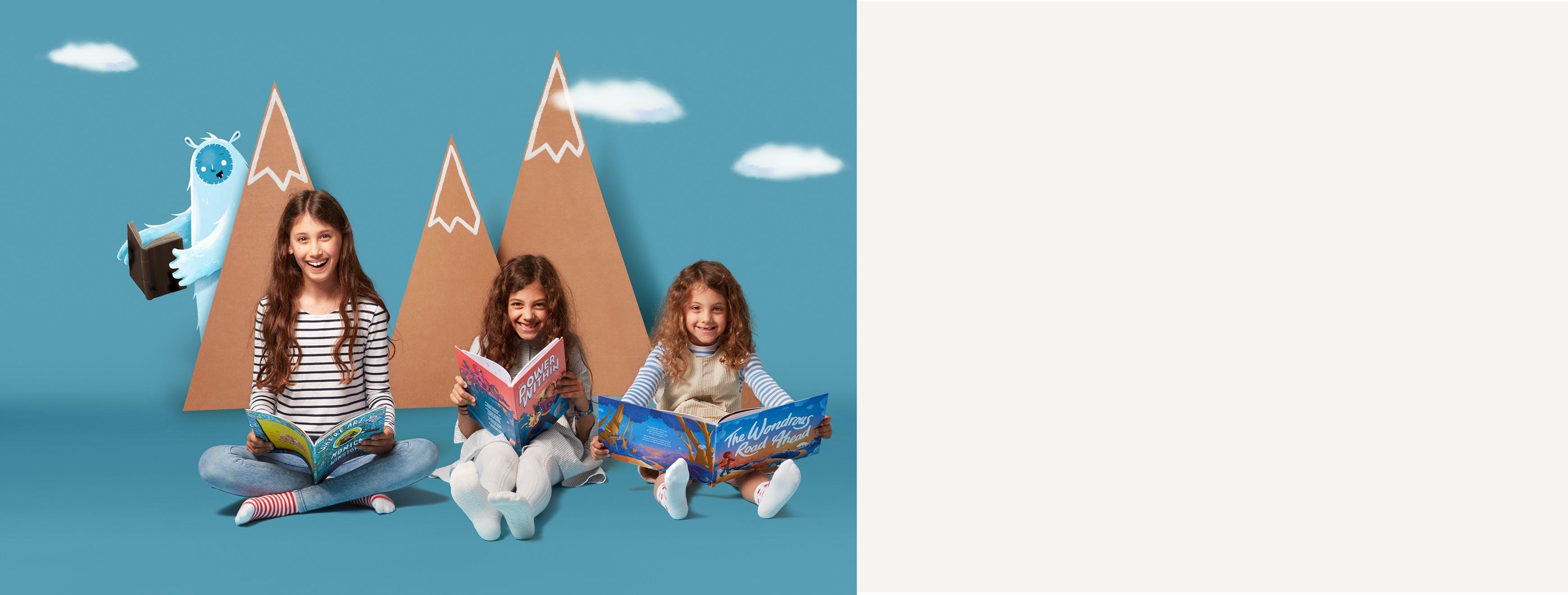 Three girls, mountain and a yeti
